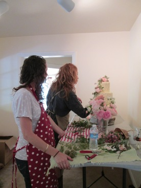 Clover and Rhiannon designing cake