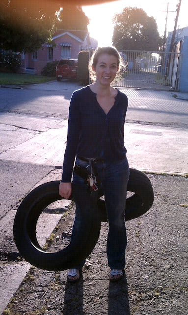 adrienne with tires