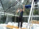 Mark hanging calla lilies