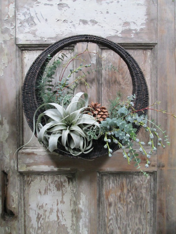 wreath brown door