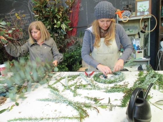 Clover and Diane workin' on wreaths